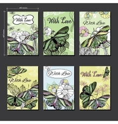 set hand Floral card a6 with butterfly Hand vector image vector image