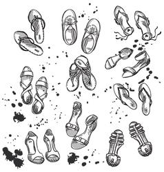 Set of summer footwear vector image vector image