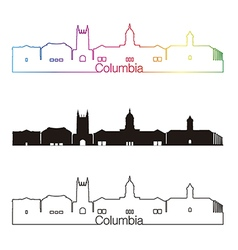 Columbia skyline linear style with rainbow vector image vector image