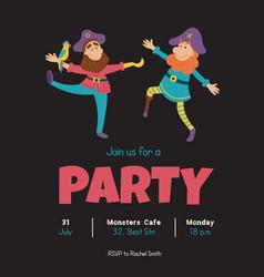 happy pirates invitation vector image