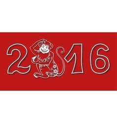 Numbers 2016 with MonkeyChinese zodiacRed vector image vector image