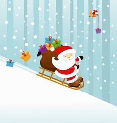 Santa On Sledge vector image