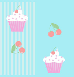 seamless pattern with cupcakes and cherries vector image vector image
