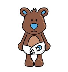 Boy bear wearing diapers vector image vector image