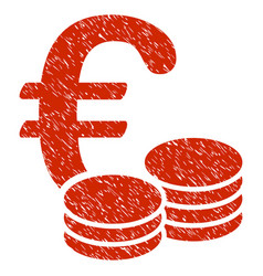 euro coins icon grunge watermark vector image