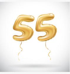 golden number 55 fifty five metallic balloon vector image vector image