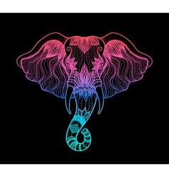 Head of a elephant line art boho design of Indian vector image vector image