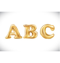 metallic gold a b c balloons golden letter new vector image