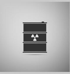 radioactive waste in barrel flat icon on grey vector image