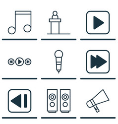 set of 9 music icons includes microphone vector image
