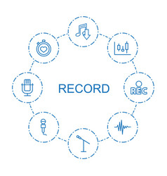 8 record icons vector image