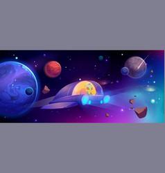 Alien spaceship flying in cosmos between planets vector