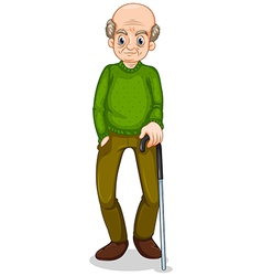 An old man standing with a cane vector