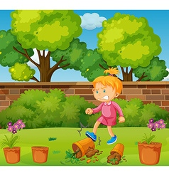 Angry girl kicking potted plants in the garden vector