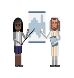 Arabic and african speakers doing presentation vector