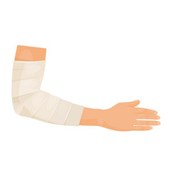 bandaged hand icon patient with hand injury vector image
