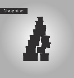 Black and white style icon mountain of boxes vector