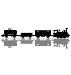 black silhouette a vintage steam train vector image