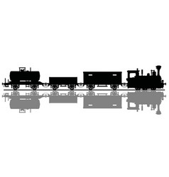 black silhouette of a vintage steam train vector image