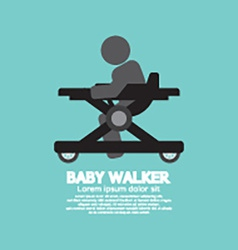 Black Symbol Baby Walker vector image