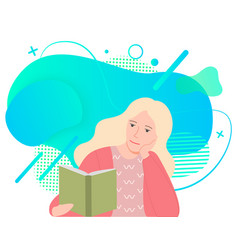 Blonde woman sitting and reading book isolated vector