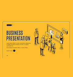 Business presentation isometric landing page vector