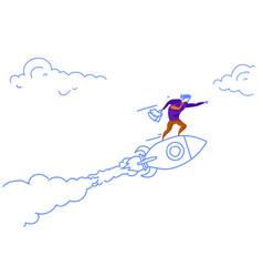 businessman flying launching rocket innovation vector image