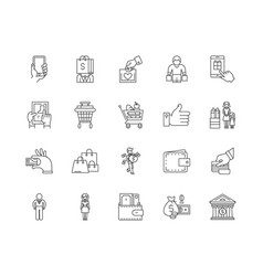 buyer line icons signs set outline vector image