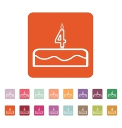 Cake with candles in the form of number 4 icon vector image