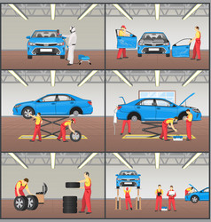 car service steps collection vector image