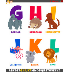 Cartoon alphabet set with cute animal characters vector