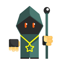 Cartoon mysterious gnome in a gray cape vector