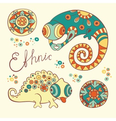 Chameleons and flowers vector