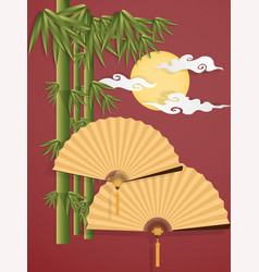 chinese folding fans vector image