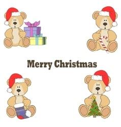 Christmas Teddy bear gift card vector image