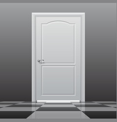 Closed door on the glossy chess floor vector