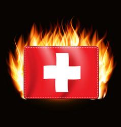 Concept switzerland on fire background vector