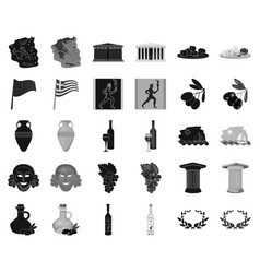 Country greece blackmonochrome icons in set vector