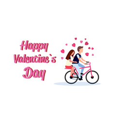 couple riding bicycle happy valentines day holiday vector image