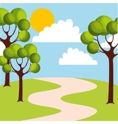 cute field landscape icon vector image