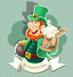 Cute Leprechaun with beer and pot of gold - poster vector image