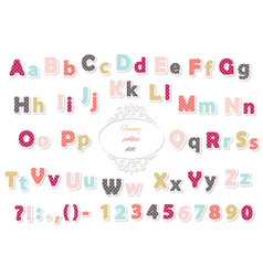 cute polka dot colored font for kids vector image
