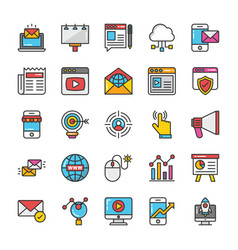 Digital and internet marketing icons set 1 vector