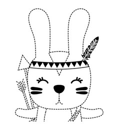 Dotted shape cute rabbit animal with arrows and vector