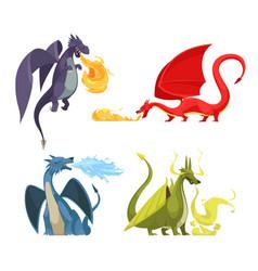 Dragons fire cartoon concept vector