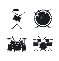 Drum rock kit music icons set simple style vector