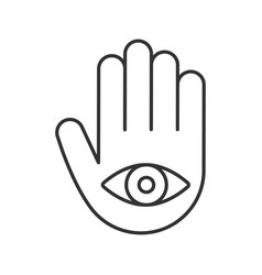 Eye in hand linear icon vector