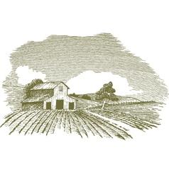 farm scene landscape with barn vector image vector image