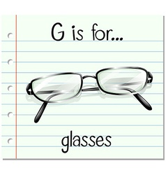 Flashcard letter G is for glasses vector