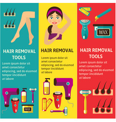 flat hair removal tools posters set vector image
